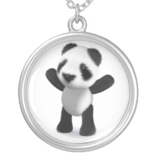 3d Baby Panda Cheers Hooray! Personalized Necklace