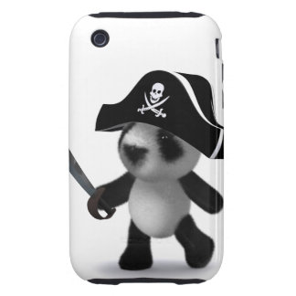 3d Baby Panda Cute Pirate iPhone 3 Tough Cover