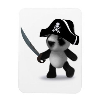 3d Baby Panda Cute Pirate Magnet