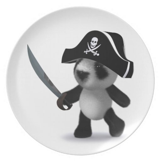 3d Baby Panda Cute Pirate Party Plate
