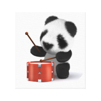 3d Baby Panda Drummer Canvas Print