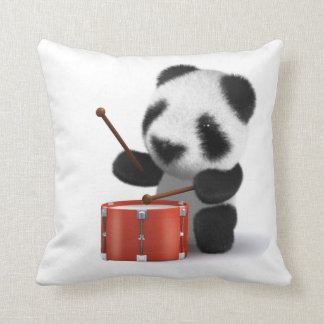 3d Baby Panda Drummer Throw Pillow