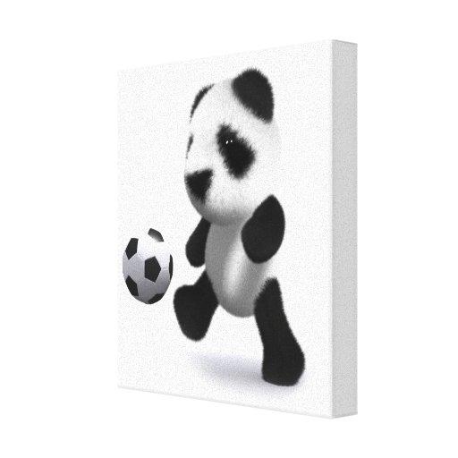3d Baby Panda Football Canvas Print