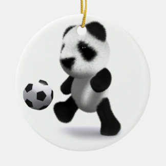 3d Baby Panda Football Double-Sided Ceramic Round Christmas Ornament