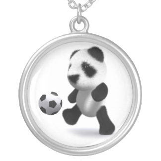 3d Baby Panda Football Round Pendant Necklace