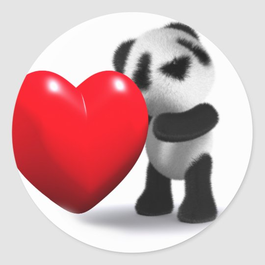 3d Baby Panda Heart Classic Round Sticker