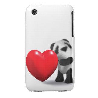 3d Baby Panda Heart iPhone 3 Covers