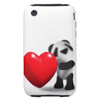 3d Baby Panda Heart Tough iPhone 3 Cover