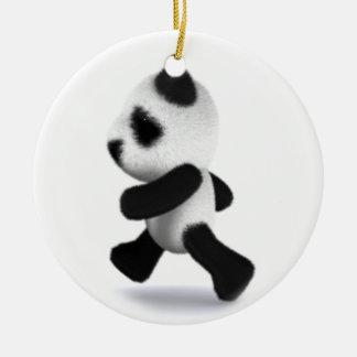 3d Baby Panda Jogger Ceramic Ornament