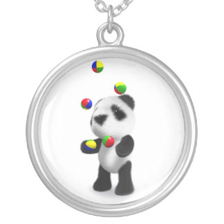 3d Baby Panda Juggles Round Pendant Necklace