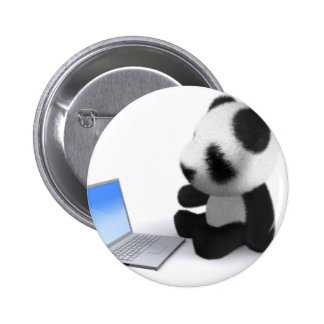 3d Baby Panda Laptop Pinback Button