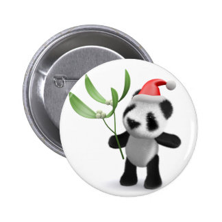 3d Baby Panda Mistletoe Buttons