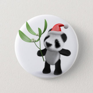 3d Baby Panda Mistletoe Pinback Button