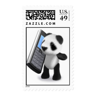 3d Baby Panda Mobile Phone Postage Stamp