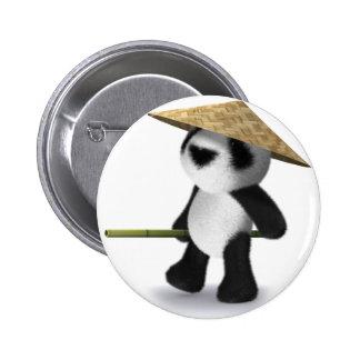 3d Baby Panda Oriental Pinback Button