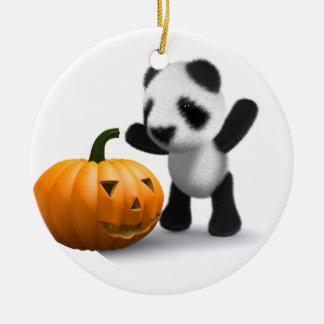 3d Baby Panda Pumpkin Ceramic Ornament