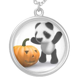 3d Baby Panda Pumpkin Round Pendant Necklace