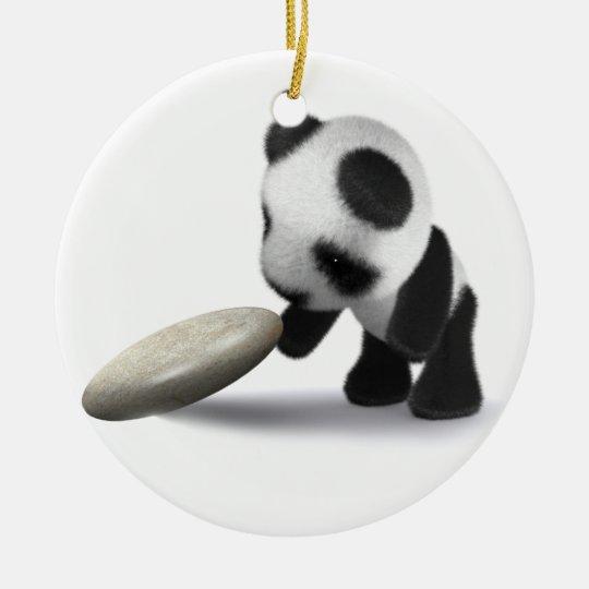 3d Baby Panda Rocks Ceramic Ornament