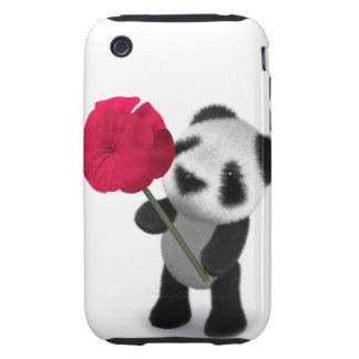 3d Baby Panda Rose iPhone 3 Tough Case