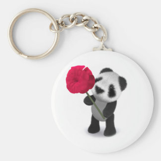 3d Baby Panda Rose Keychain