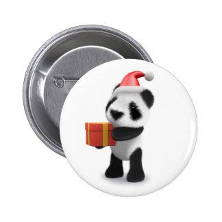 3d Baby Panda Santa Present 2 Inch Round Button