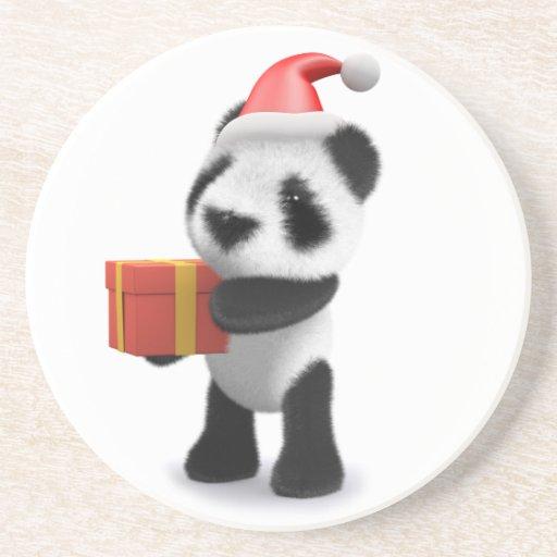 3d Baby Panda Santa Present Coaster