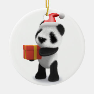 3d Baby Panda Santa Present Double-Sided Ceramic Round Christmas Ornament