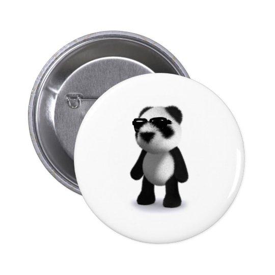 3d Baby Panda Sunglasses Pinback Button