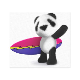 3d Baby Panda Surfboard Stretched Canvas Prints