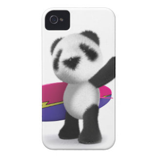 3d Baby Panda Surfboard iPhone 4 Cases