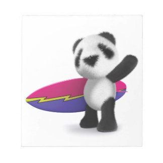 3d Baby Panda Surfboard Note Pads