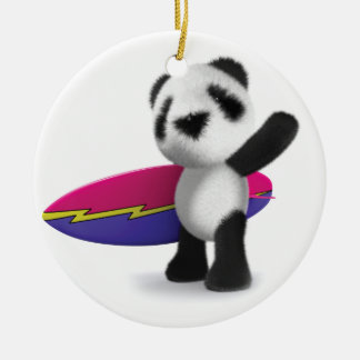 3d Baby Panda Surfboard Christmas Ornaments
