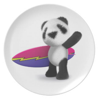 3d Baby Panda Surfboard Party Plates