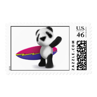 3d Baby Panda Surfboard Postage Stamps
