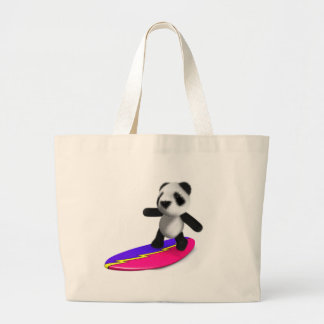 3d Baby Panda Surfing Canvas Bag