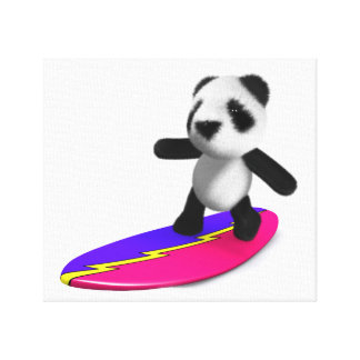 3d Baby Panda Surfing Canvas Print