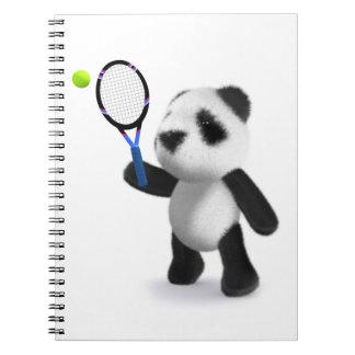 3d Baby Panda Tennis Spiral Notebook