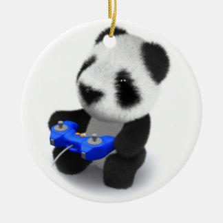 3d Baby Panda Videogames Ceramic Ornament