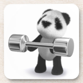 3d Baby Panda Weightlifter Coaster