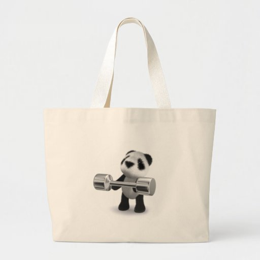 3d Baby Panda Weightlifter Jumbo Tote Bag