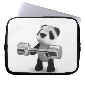 3d Baby Panda Weightlifter Laptop Computer Sleeves