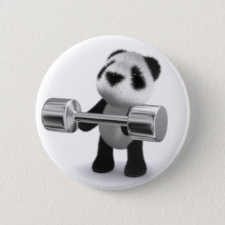 3d Baby Panda Weightlifter Pinback Button