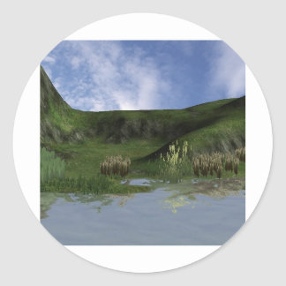 3d back to nature scene round stickers