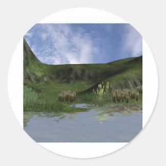 3d back to nature scene classic round sticker