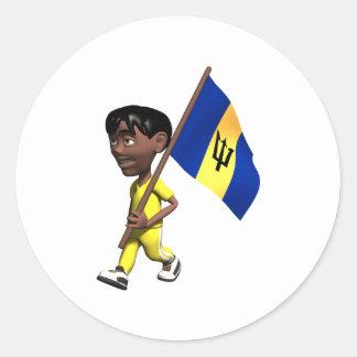 3D Barbados Classic Round Sticker