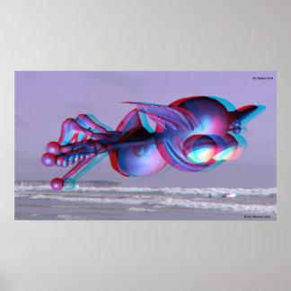 3D Beach Bird Hollywood Tours IN 3D Poster