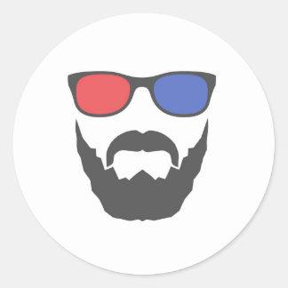 3D beard Classic Round Sticker