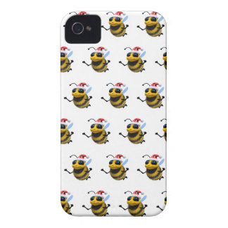 3d Bee Santa (Editable BG Color!) iPhone 4 Case-Mate Cases