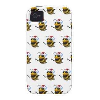 3d Bee Santa (Editable BG Color!) iPhone 4 Cover