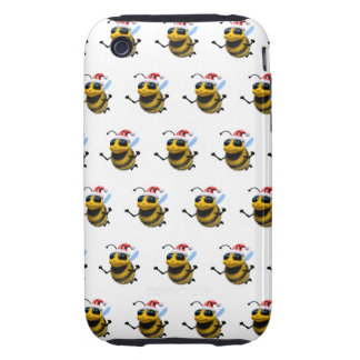 3d Bee Santa (Editable BG Color!) Tough iPhone 3 Cover